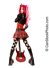 Punk girl with electro guitar, isolated on white background