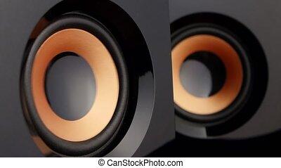 Loud speaker. Speaker cone pumping. Closeup - Loud speaker,...