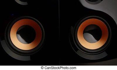 Speaker pumping. Speaker system. Sub woofer. Closeup - Music...
