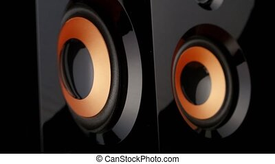 Pumping bass speaker. Closeup - Speaker cone pumping to the...