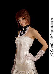 Attractive girl in white corset - Attractive girl in white...
