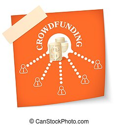 Slip of paper with theme of crowd funding