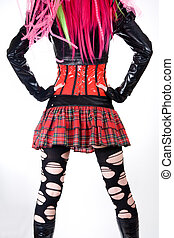 Gothic girl in mini skirt - Gothic girl in mini skirt, over...