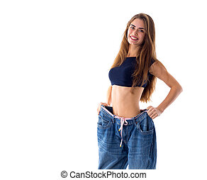 Woman wearing jeans of much bigger size - Attractive young...