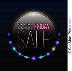 Poster Black friday SALE with retro lights line. Vector...