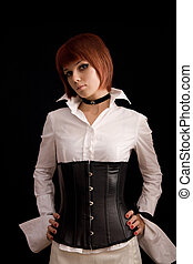 Attractive girl in white blouse and leather corset -...