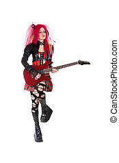 Gothic girl playing guitar, isolated on white background