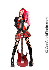 Gothic girl with electro guitar, isolated on white...