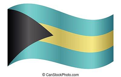 Flag of Bahamas waving on white background