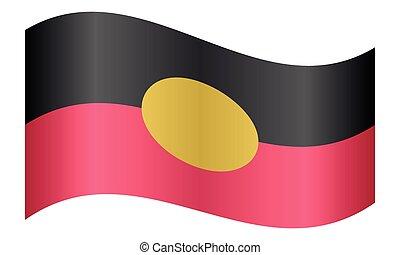 Australian Aboriginal flag waving white background