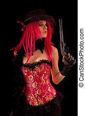 Cabaret girl in pink corset holding gun