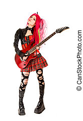 Gothic girl with guitar, isolated on white background