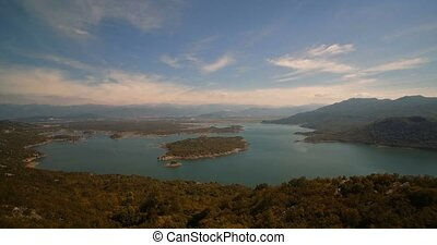 Aerial, Flying Around Slansko Jezero Lake, Montenegro -...