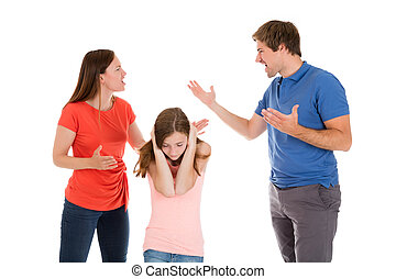 Parent Quarreling On White Background - Girl Covering Her...