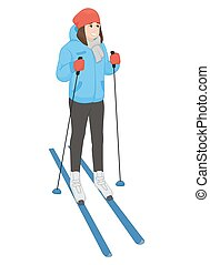 The young animation girl costs on skis. Winter sport. Vector...