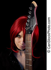 Gothic girl with guitar, isolated on black background