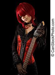 Sensual guitar player - Sensual guitar player, studio shot...