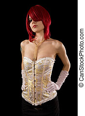 Young attractive woman in glamour corset