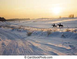two silhouettes of horses on snow in winter, post card view...
