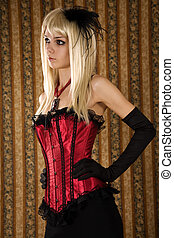 Blond girl in red corset