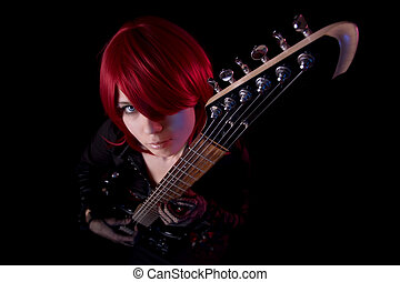 Sensual girl with guitar, high angle view - Sensual girl...
