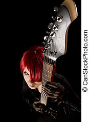 Rock star with guitar, high angle view - Rock star with...