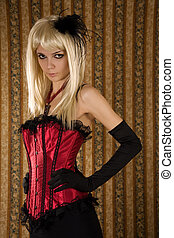 Expressive girl in red corset