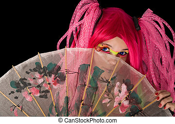 Attractive girl with Japanese umbrella, isolated on black...