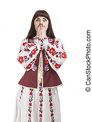 Portrait of Frightened Caucasian Female. Posing with Hands...