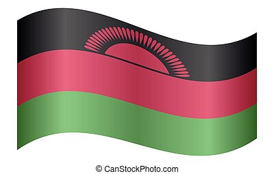 Flag of Malawi waving on white background - Malawian...