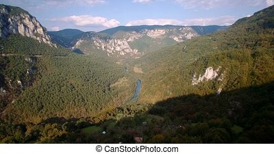 Aerial, Tara River Canyon, Montenegro - Graded and...