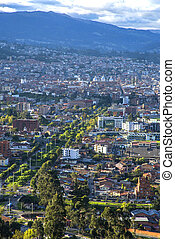 High view of Cuenca - View of the city of Cuenca, Ecuador,...