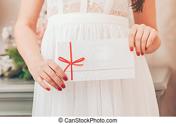 Gift card - closeup of woman showing sign card. - Gift card...