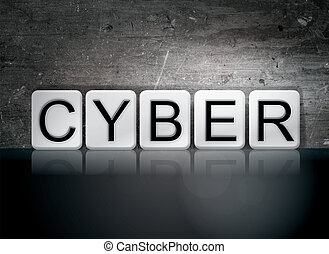 "Cyber Tiled Letters Concept and Theme - The word ""Cyber""..."
