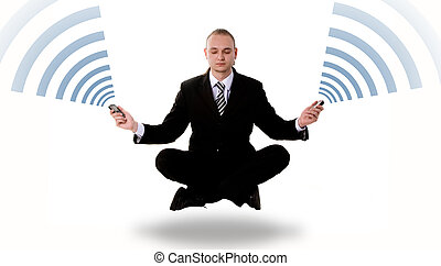 Communication concept: levitating business yoga - Levitating...