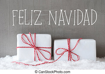 Two Gifts With Snow, Feliz Navidad Means Merry Christmas -...