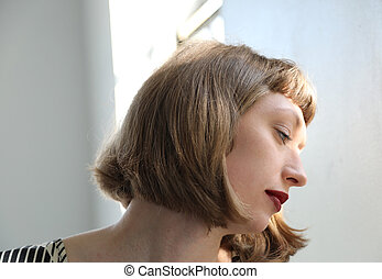 Beautiful, Sad Woman with Red Lipstick - Photo of a very...