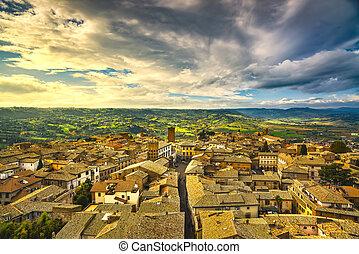 Orvieto medieval town aerial view. Italy - Orvieto medieval...