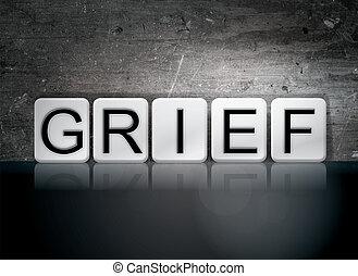 chagrin,  thème,  concept, lettres, carrelé