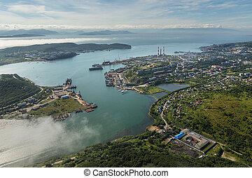 Avacha Bay and Petropavlovsk-Kamchatsky on the southeastern...