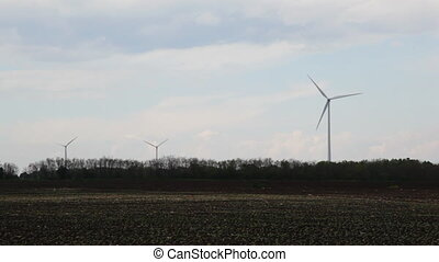 Green energy on empty field