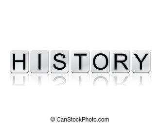 histoire, isolé, carrelé, lettres, concept, et, thème