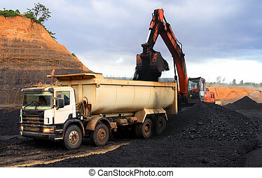 Transport activity - Coal loading at open mining site