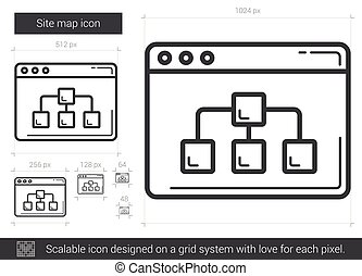 Site map line icon. - Site map vector line icon isolated on...