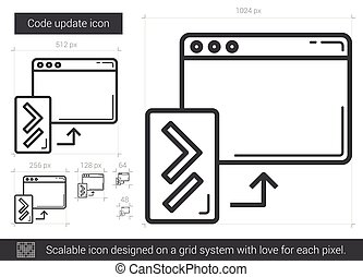 Code update line icon. - Code update vector line icon...