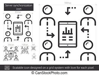 Server synchronization line icon. - Server synchronization...