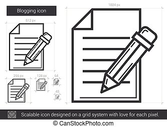 Blogging line icon. - Blogging vector line icon isolated on...