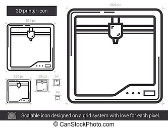 Three D printer line icon. - Three D printer vector line...