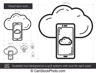 Cloud sync line icon - Cloud sync vector line icon isolated...