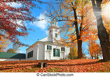 Church - Small church in typical New England town with fall...